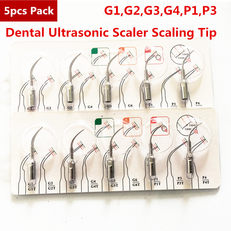5pcs G1,G2,G3,G4,P1,P3 Dental Scaler Tips Fit EMS Woodpecker Ultrasonic Scaler Handpiece Dental Ultrasonic Scaler Scaling Tip