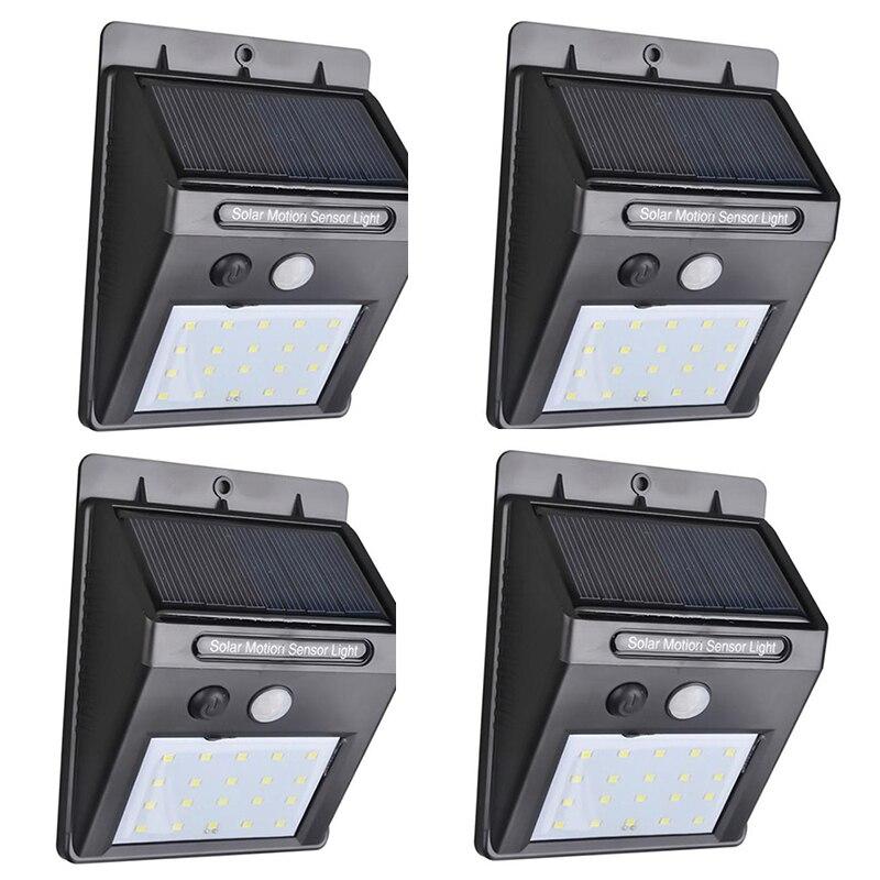 4Pcs/pack 20LED Solar Power PIR Motion Sensor Wall Light Outdoor Waterproof Energy Saving Street Garden Security Lamp White