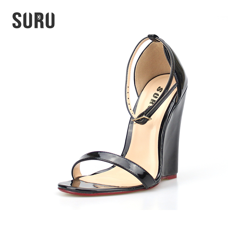 SURU Women Wedges Sandals Ladies Heels Summer Shoes  Big US Large Size 8.5 9.5 10.5 11 12 13 14 Europe 40 41 42 43 44 45 A38 suru designer shoes wedding heels women sexy open toe cut out side summer sandals high heels large size 40 41 42 43 44 45 46 a39