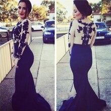 Glamorous Memraid Schwarz Prom Kleid mit Appliques Promi Kleid Lange Abendkleid Benutzerdefinierte Vestido De Festa Gala jurken