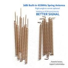 Antena de cobre para soldadura PCB, antena con muelle y bobina, antena helicoidal 433, 433MHZ, 3dbi, 50 Uds. Por lote