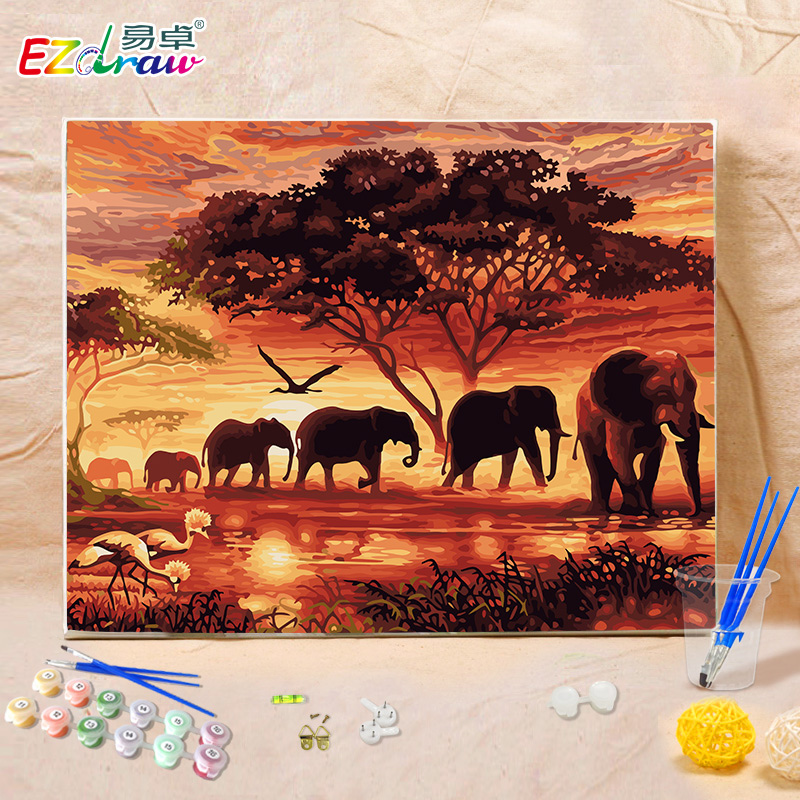 12 Diy Painting Ideas That Will Help You To Upgrade The: 2016 DIY Oil Painting By Numbers Animals Elephant 8941