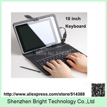 Freeshipping PU leather cover for 10 inch tablet case with keyboard supporting USB interface,high quality 10 inch keyboard case