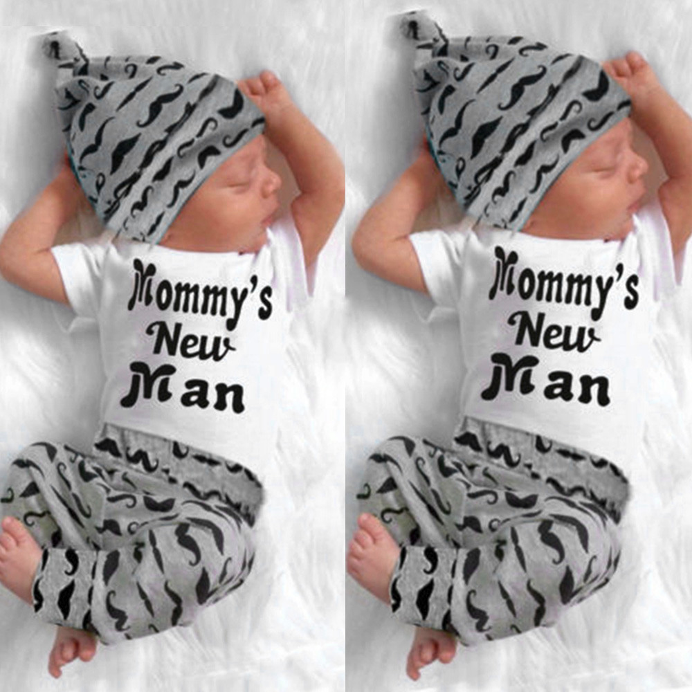3Pcs Newborn Baby Boy Romper Letter Tops + Beard Long Pants Hat Outfits Clothes Cotton Blend party or photoshoot casual