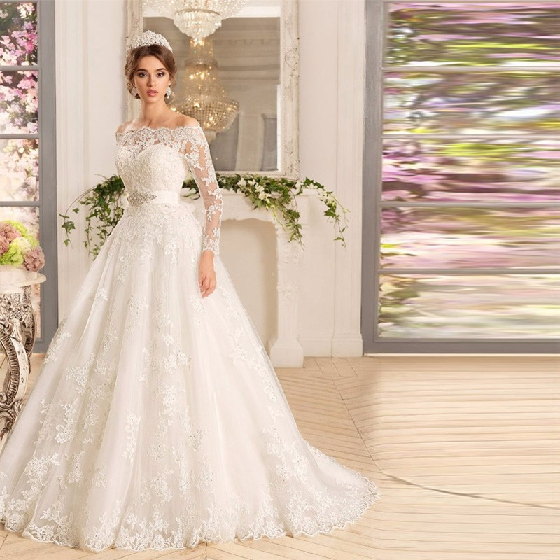 Cheap White Ivory Wedding Dresses Mermaid Lace Appliques: Hot Selling Cheap White Ivory Boat Neck Wedding Dresses