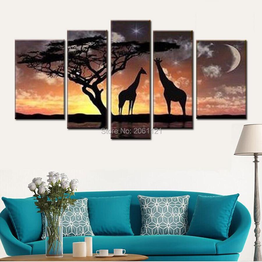 100% ručně malované 5ks domů dekorativní nástěnné malby africké hvězdné noční scenérie Krajina plátno olejomalba dárky