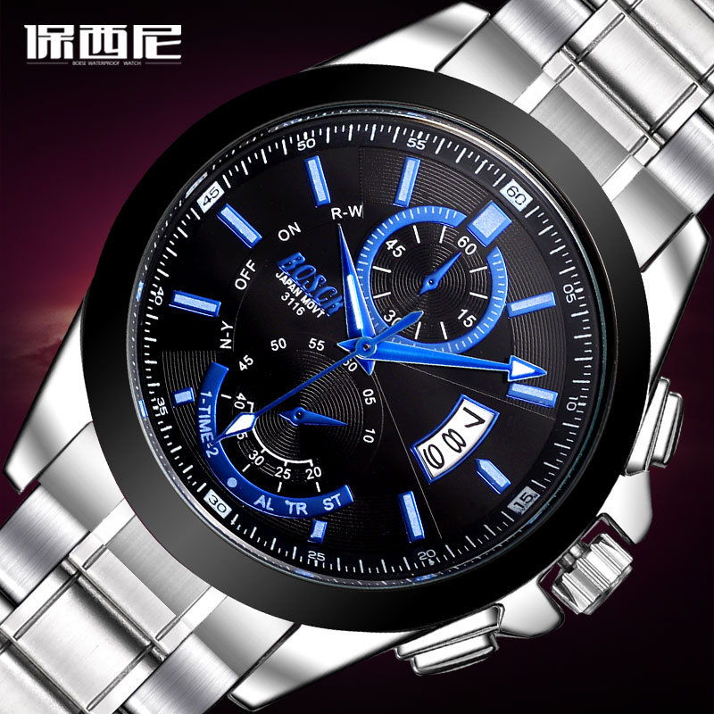 BOSCK fashion brand precision accurate quartz watch waterproof calendar, delicate stainless steel leisure men's watch BO - 3116 real amount of ceramic fashion set auger waterproof quality precision rotary calendar watch brand man woman a good watch