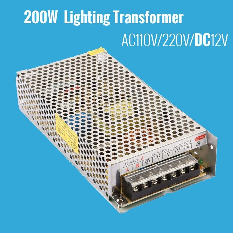 цена на 200W LED Lighting Transformers 110V 220V LED Driver Lamp Light Power Supply DC 12V Power Adapter Switching for LED Strip Light