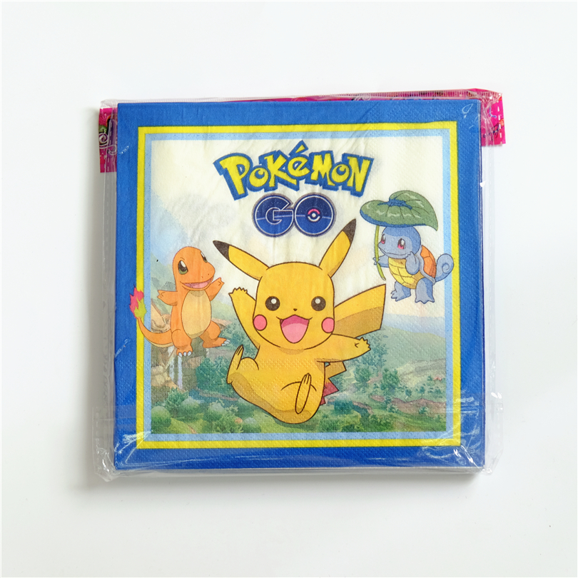 20pcs/lot Disposable Napkins Pokemon Go Pikachu Kids Birthday party supply event party supplies party Decoration Set