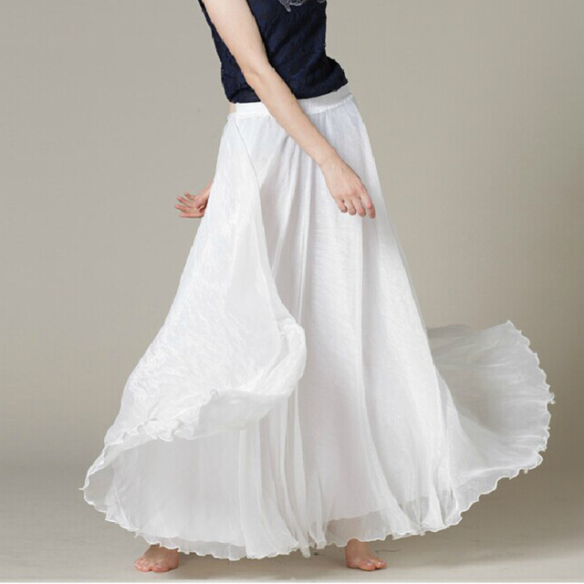 f79e878b49 White Long Chiffon Maxi Skirt Ladies Silky Chiffon Plus Sizes Lightweight  Sundress Holiday Beach Skirt-in Skirts from Women s Clothing on  Aliexpress.com ...