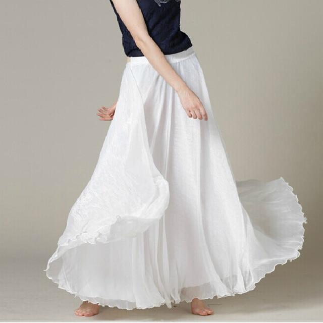 White Long Chiffon Maxi Skirt Ladies Silky Chiffon Plus Sizes Lightweight Sundress Holiday Beach Skirt