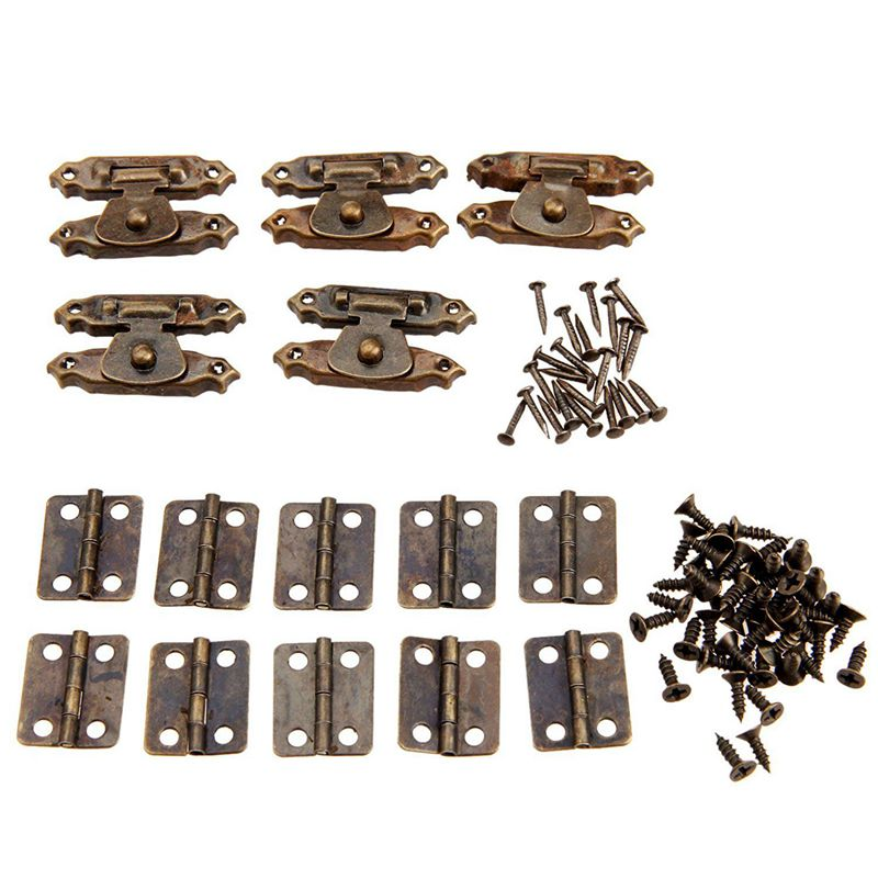 5pcs Antique Bronze Cabinet Door Latch Hasps Decorative with 10Pcs Retro Hinges