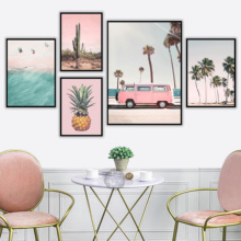 Pink Bus Cactus Pineapple Blue Sea Beach Wall Art Canvas Painting Nordic Wall Pictures For Living Room Decor quadro cuadros