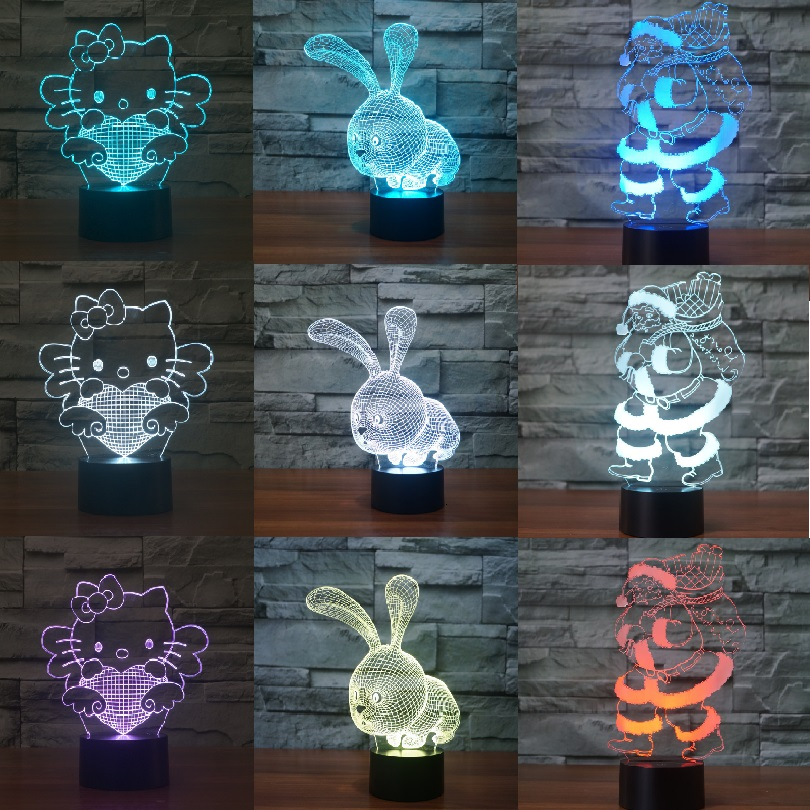 Multiple Color Anime Spiderman Super Hero 3D LED Night Ligh Kwaii Bear Hello Kitty Animal Figure Lamp Anniversary Gift Lover