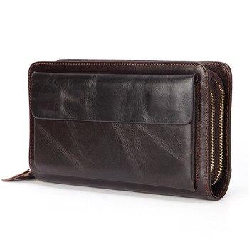 Деловой кошелек-клатч из натуральной кожи, Мужская Длинная кожаная сумка для телефона, мужской кошелек большого размера, удобный кошелек дл...