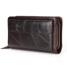 Деловой кошелек клатч из натуральной кожи, Мужская Длинная кожаная сумка для телефона, мужской кошелек большого размера, удобный кошелек для монет, держатель для карт, сумка для денег