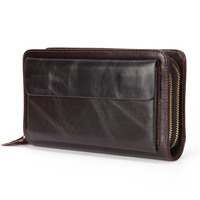 Business Genuine Leather Clutch Wallet Men Long Leather Phone Bag Purse Male Large Size Handy Coin Wallet Card Holder Money Bag