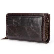Cartera de mano de cuero genuino para hombre, cartera de mano masculina, larga, de cuero, para teléfono, monedero de gran tamaño, práctico, con tarjetero