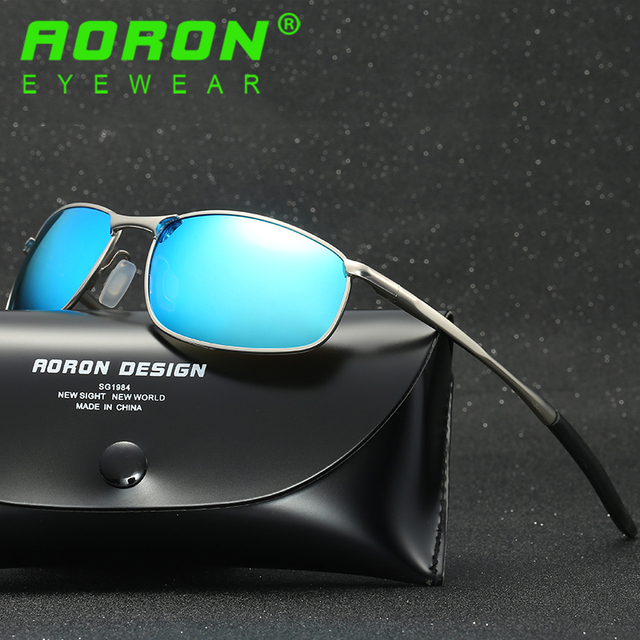 b292a749029b7 AORON Brand Original Polarized Sunglasses Goggles Men s Designer Mirror  Glasses oculos de sol Eyewear Accessories For