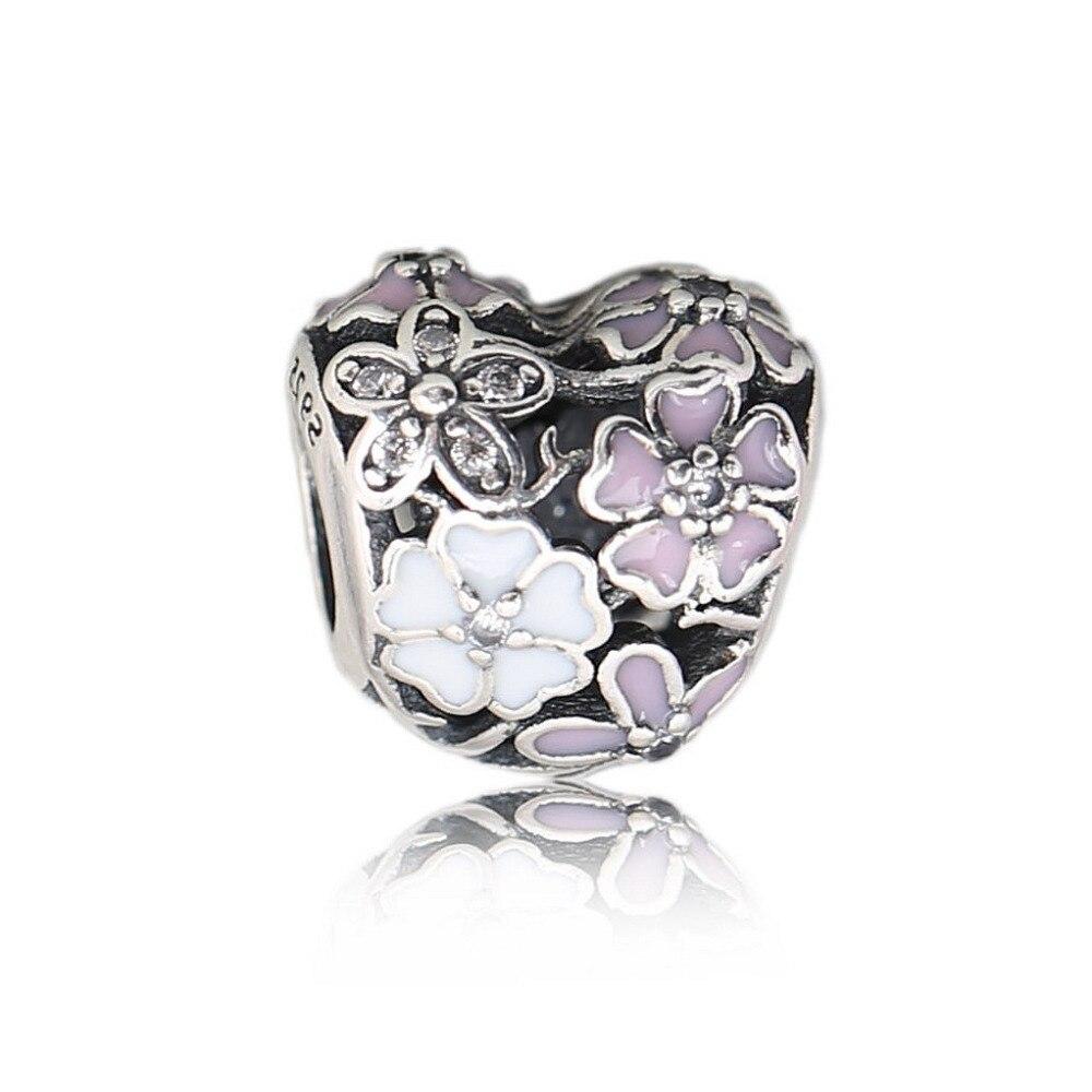100% 925 Sterling Silver Poetic Blooms Beads Fit Original Pandora Charm Bracelet Authentic Luxury DIY Jewelry 2018 Spring