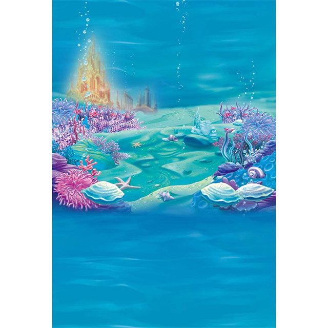 Under The Sea Photography Background Blue Seaweed Starfish Bubbles Gold Castle Baby Little Mermaid Birthday Party