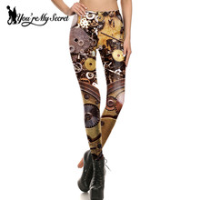 [You're My Secret] Leggings Women Workout Legging Steampunk Mechanical Gear Cosplay leggin Women Jeggings Print Fitness Pant
