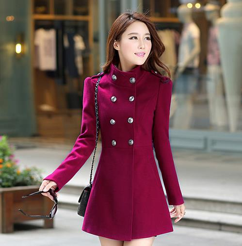 dfd10b2162 US $50.53 |Casacos Feminino 2016 Winter Trench Coat Wool Cashmere Retro  Long Coat Thick Vintage Double Breasted Woolen Coat Large Size D354-in Wool  & ...