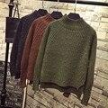 Las mujeres forman el suéter de Cuello Alto de manga larga rebordear suéter suéteres de punto de gran tamaño suéter de navidad tire femme