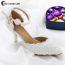 Shoes Women Sandals New Arrival High Quality Shoes White wedding shoes female flower lace pearl shoes 7cm Heels bridal shoes new arrival women s beading lace flower wedding pumps high heels bridal bridesmaid s shoes white ivory banquet shoes 1541 jj
