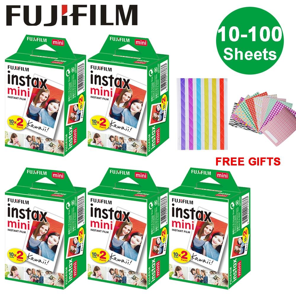 10-100 feuilles Fujifilm Instax Mini Film de bord blanc papier Photo instantané pour Instax Mini 8 9 7s 9 70 25 50s 90 SP-1 2 cadeaux d'appareil Photo