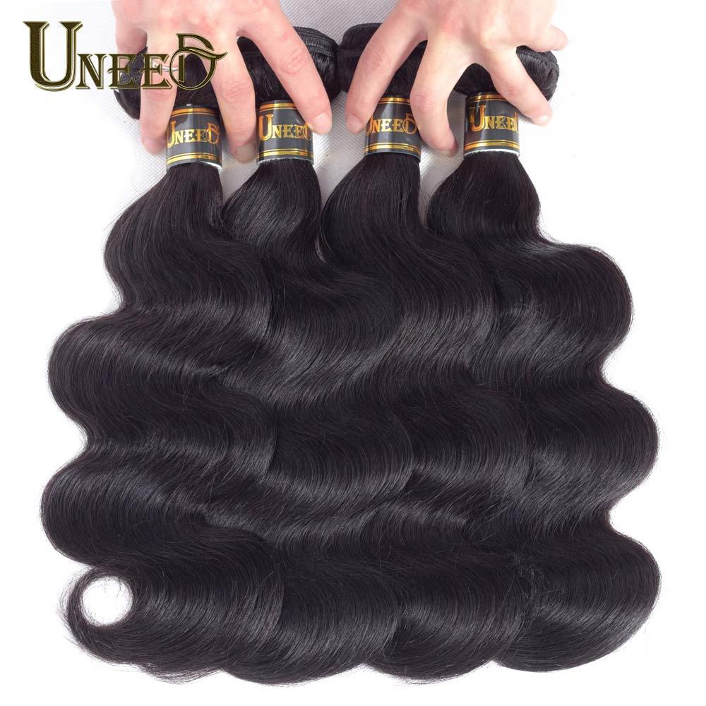 Uneed Hair 4 Bundles Brazilian Body Wave 100 Human Hair Weave Bundles Natural Black Remy Hair
