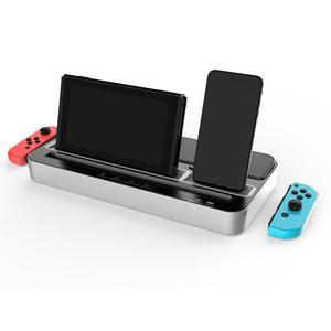 Image 2 - Base de carga multifunción Estación de enchufes, soporte con altavoz de Audio para Nintendo NS Switch/teléfono móvil/tabletas