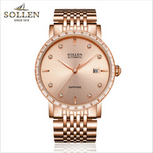 Luxury Men Crystals Sapphire Watches Brand Imported Automatic Self-wind Watch Calendar Gold Plated Full Steel Wrist watch Zircon