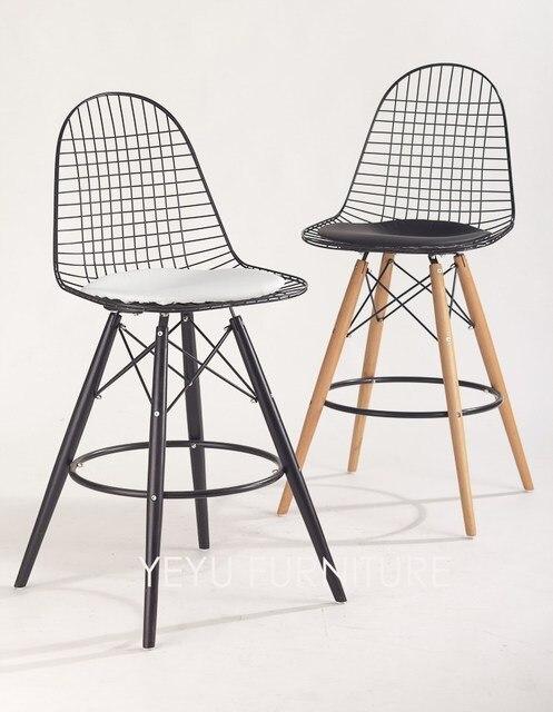 Minimalist Modern Design Metal Steel And Wood Leg Counter Stool Bar Stool  Chair Fashion Design High