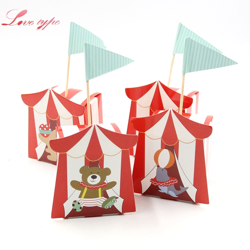 10PCS/Lot Cute DIY Cartoon Circus Theme Party Candy Box For Kids Birthday Party Baby Shower Decoration Candy Gift Box Supplies