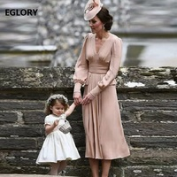 100% Real Silk Dress Kate Women V Neck Peplum Dres Long Sleeve Party Elegant Dresses Vestidos With Brooches Ladies Summer Dress