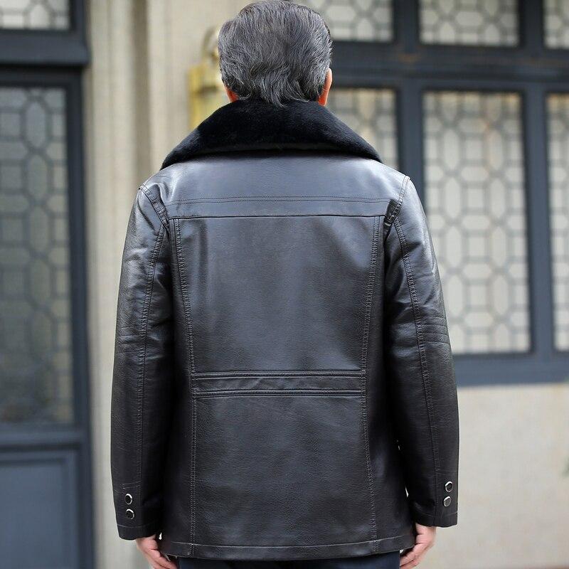 Noir Brun Col D'hiver Masculino Veste marron Manteaux Survêtement Jaqueta Mâle Pu Décontractée Qualité Hommes Fourrure Cuir Marque Haute En Noir De HBzUvqSSw
