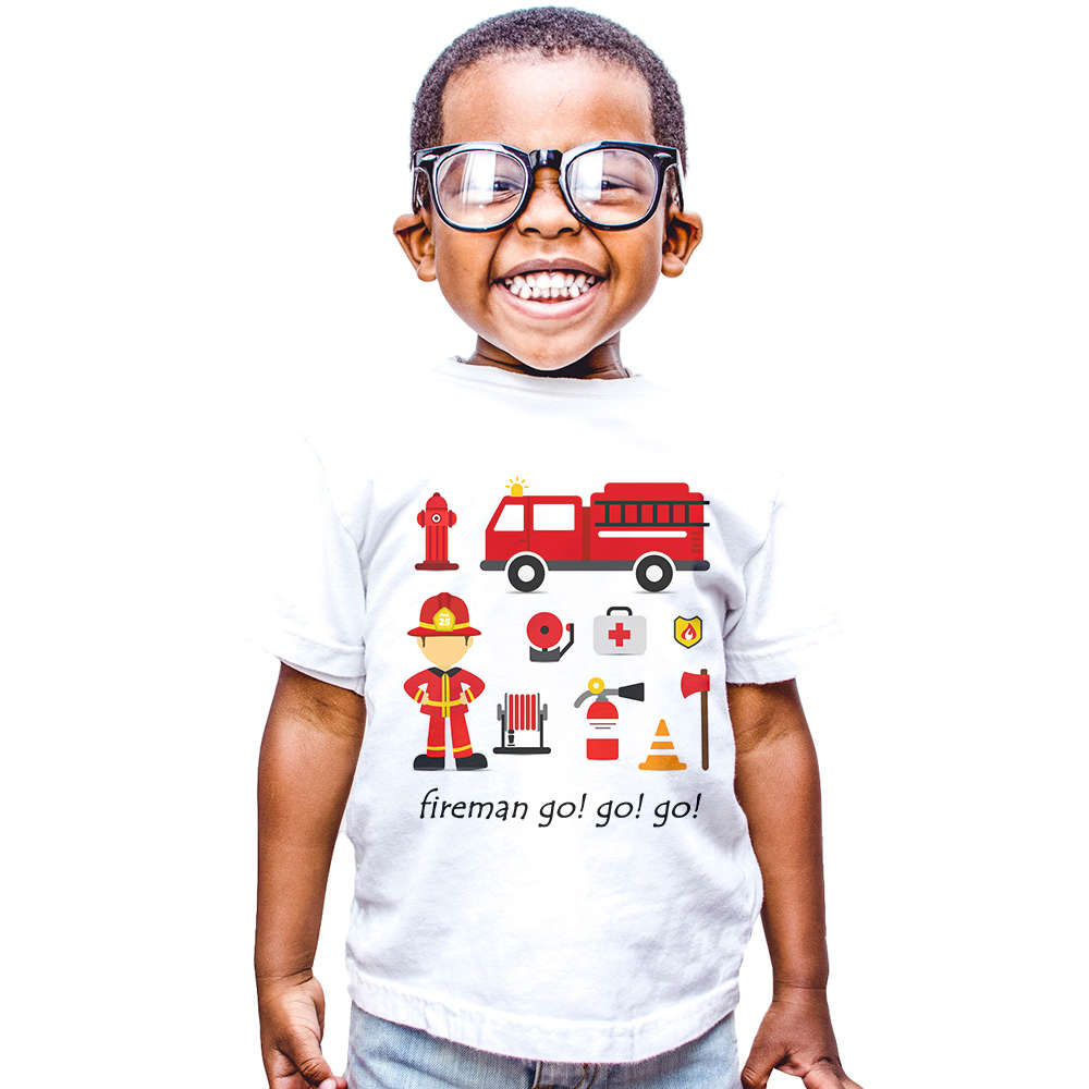 fireman equipment truck funny print t-shirt for todder baby infant newborn summer short sleeve tops tees kids boys girls t shirt