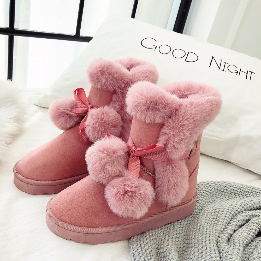 купить Thick Warm Snow Boots Winter Female Ankle Boots Warmer Plush Fur Suede Flat Slip On Fashion Platform Shoes For Women по цене 836.29 рублей