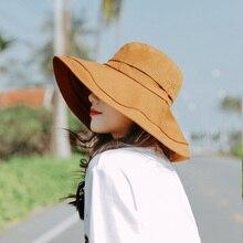 Wide Large Brim Floppy Sun Hats Women Summer Beach Hat Cotton Button Cap Truck For khaki Female