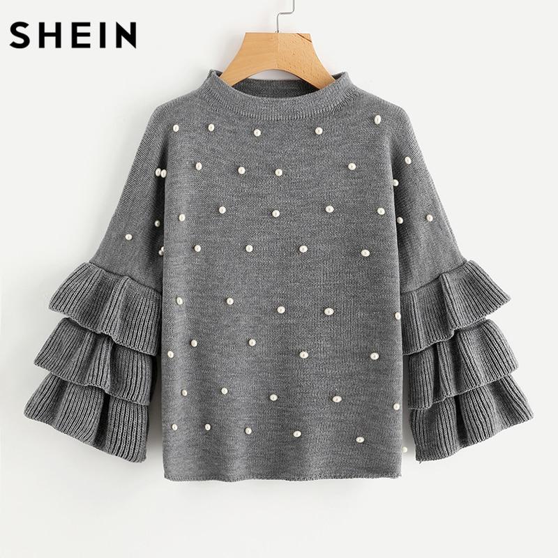 SHEIN Grey Crew Neck Pearl Beading Tiered Ruffle Sleeve Jumper Long Sleeve Loose Cute Women Sweaters