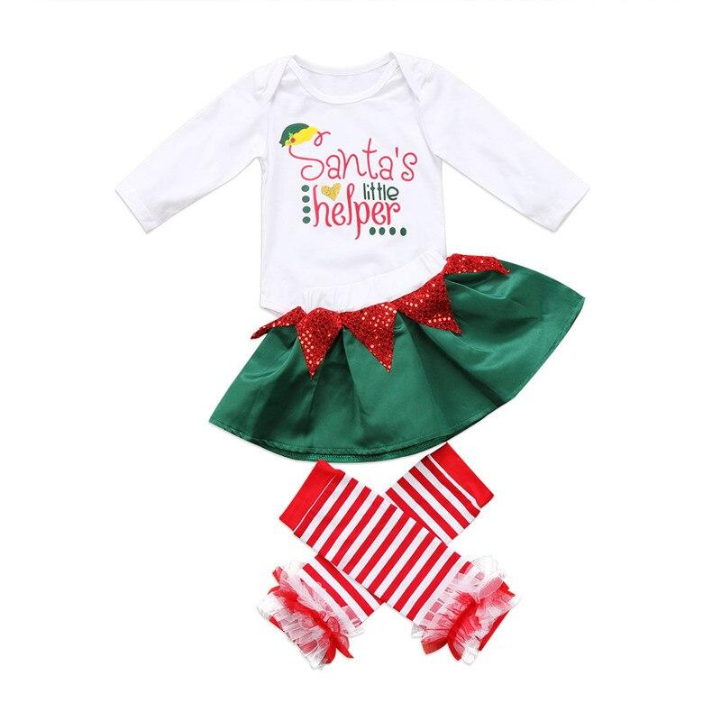 Adorable Christmas Newborn Baby Girl Santa Long Sleeve Romper Skirt 3PCS Outfits Set Clothes for Xmas