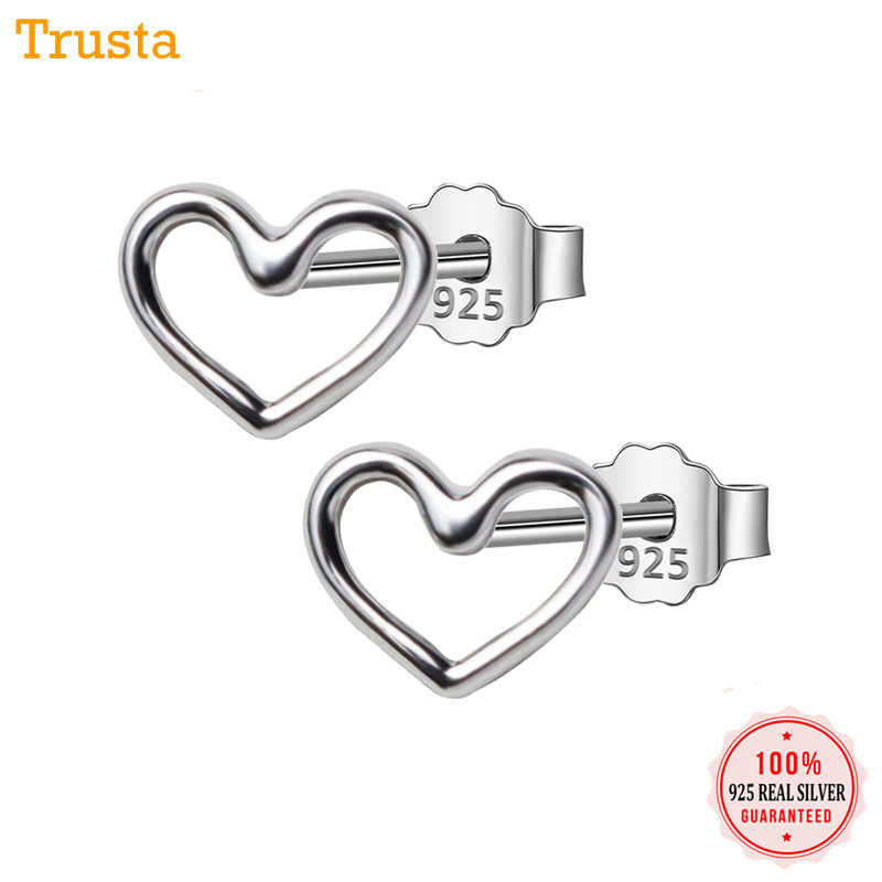 Trusta 2018 100% 925 Sterling Silver Jewelry Fashion Cute Tiny 5mmX6mm Hollow Heart Stud Earrings Gift For Girls Kids Lady DS384