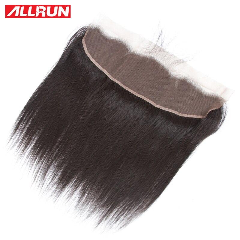 Allrun brazylijski proste włosy 1 Pc 13*4 koronka Frontal zamknięcie Non Remy 100% ludzki włos koronki Frontal 10-24 Cal