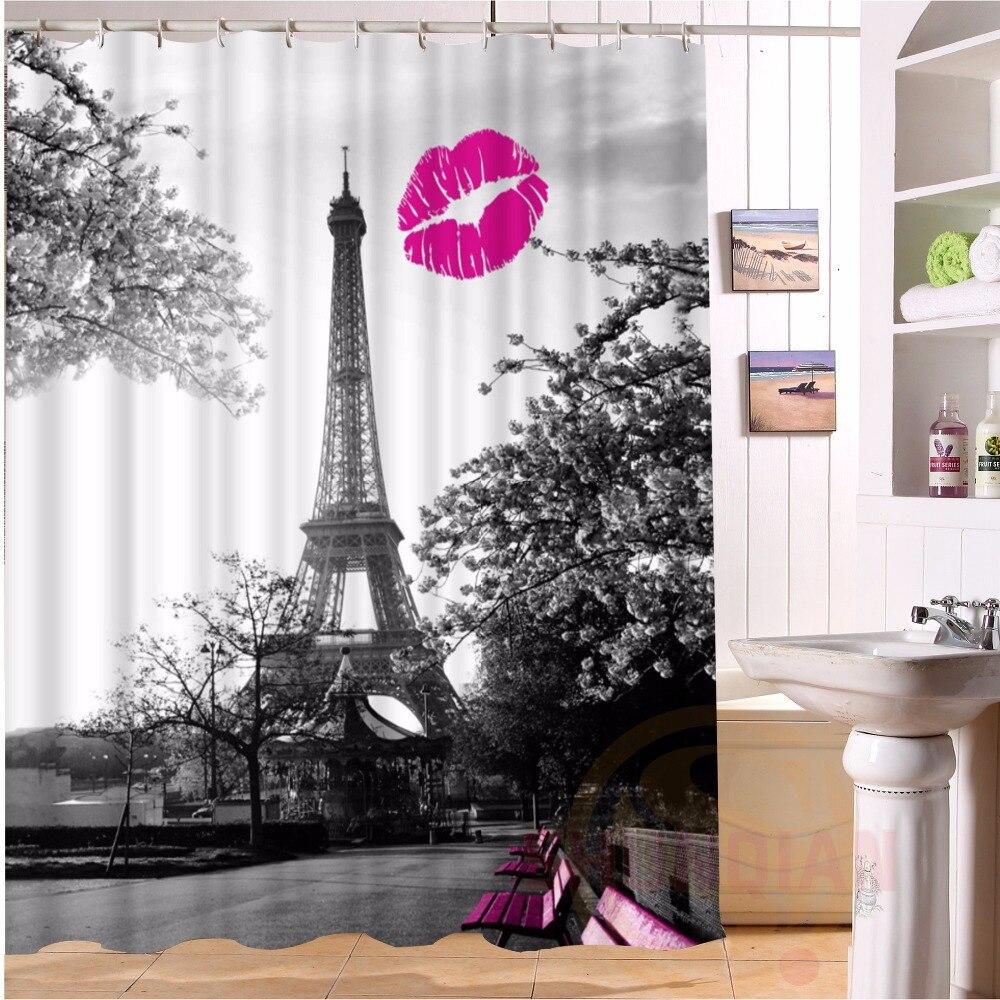 Custom Home Decor Red Lip Tower#1 Shower Curtain European Style Bathroom  Waterproof H#54