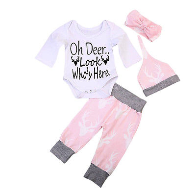 Newborn Toddled Baby Boy Girls Long Sleeve Romper Harlem Casual Pants Headband Hat Set Deer Print Outfits Clothes 2018 New