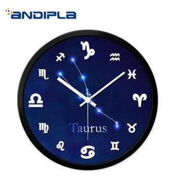 Twelve Constellations Wall Clock Metal Mute / Glass Modern Quartz Hanging Clocks Round Wall Watch Home Bedroom Decoration Crafts