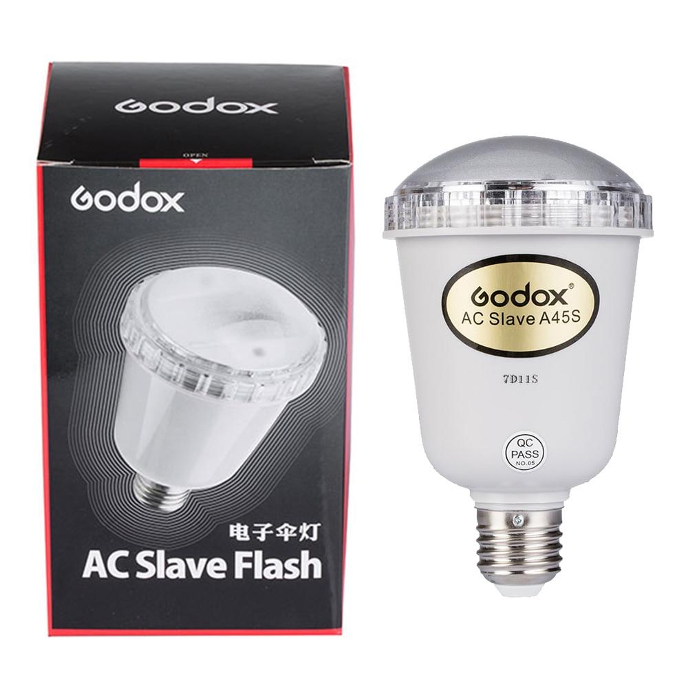 Godox A45s Kits de estudio de fotografía electrónica intermitente luz Kits de estudio de fotografía luz estroboscópica AC esclavo flash bombilla para E27 220 V