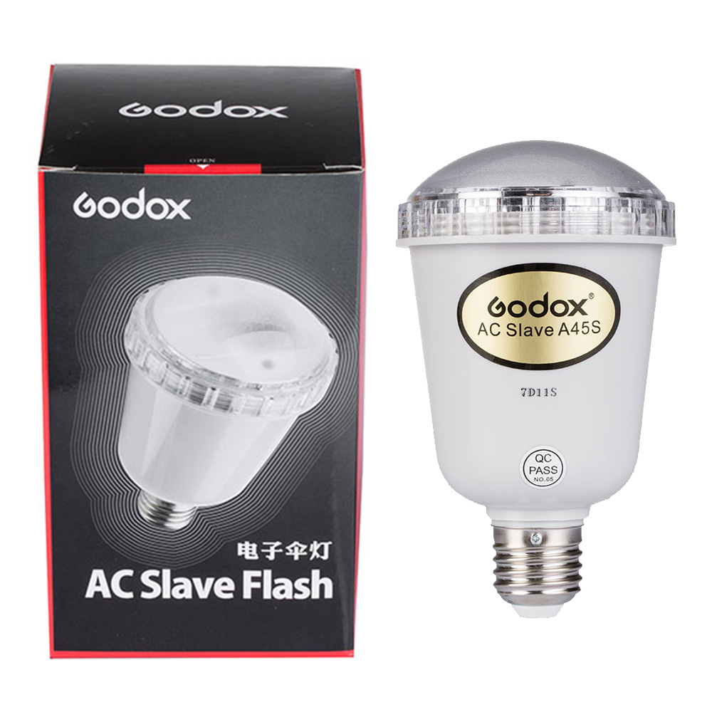 цены на Godox A45s Photo studio electronic flashing light Photo Studio Strobe Light AC Slave Flash Bulb For E27 220V