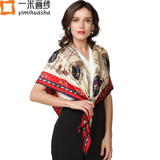 2017 new Luxury brand designer women large square scarves hijab scarf silk foulard shawl wrap female neckerchief bandana